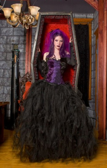 ecc57fcbad Solid Black Gothic Wedding Tulle Skirt larger image